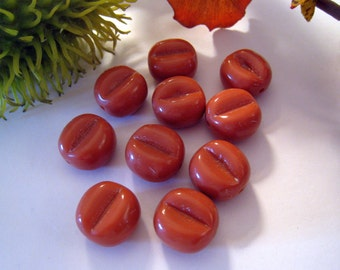 Vintage Rust/Orange Pinched Lucite Beads - Lots of 10 - 15mm x 15mm x 10mm