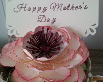 paper tea cup gift, Mother's day flowers gift idea, paper flower