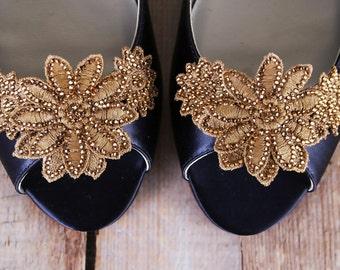 Navy Blue Wedding Shoes, Something Blue, Bling Wedding, Wedding Flats, Peep Toes, Gold Wedding, Custom Wedding, Shoes, Wedding Shoe Bling