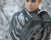 Oversize blanket scarf - Black and white cotton scarf - fashion scarf - Christmas gift - Sheer scarf- shawl