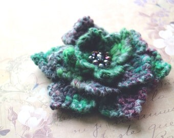 Oversized Echeveria. Green brooch crochet flower with green glass pearls. Echeveria brooch. succulent flower. felted brooch