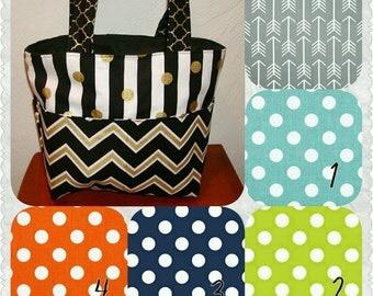 Diaper bag, handbag, purse, book bag..Arrows N More Dots..Choose a Font for name..Customize yours now.