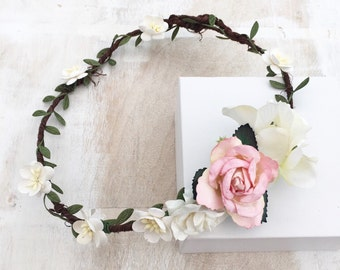 Beautiful woodland fairy blush pink and ivory rose flowers bridal LAYLA flower crown - wedding - bride - flower girl - vintage