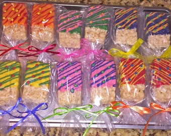 CHOCOLATE COVERED Rice Crispy Treats, Chocolate Covered Pretzels, All colors available!