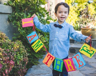 Happy Birthday Banner, I Am One Banner, Custom Birthday Banner, Rainbow Birthday Banner, Photo Prop, I Am Two, I Am Three, We Are One, Two