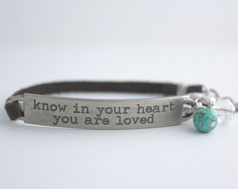 """Leather Quote Bracelet """"Know in Your Heart You are Loved"""" with Pearl and Crystal, Love Quote, Girlfriend Gift,Love Bracelet,bel monili quote"""