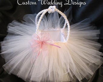 Blush Pink and White Tulle Flower Girl Basket. Add that special touch for your special girl. Other colors also available.