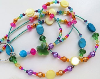 RADIANT BUTTERFLY- Beaded ID Lanyard- Mother of Pearl Beads, Glass Pearls, Spectra Beads, and Sparkling Crystals (Magnetic Clasp)