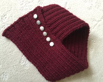 Hand Knit Cowl, Cozy Scarf, Burgundy Infinity Cowl, Soft Cowl
