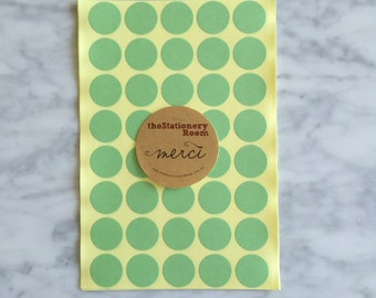 Pastel Green Circle Stickers - 2cm Round Seal Sticker - 120 Pastel Green Circle Stickers