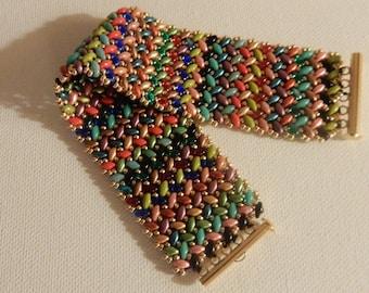 Beaded Cuff Bracelet Herringbone Pattern MULTI colors