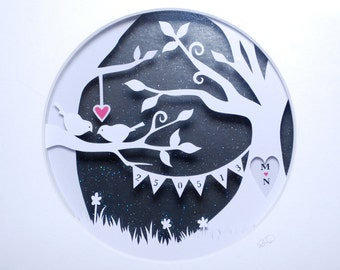 Papercut - Layered Papercut - Framed Papercut - Wedding Gift - 1st Wedding Anniversary Gift - Paper Anniversary - 'Love Birds'