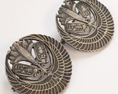 Vintage Egyptian Sterling Silver Brooches Set of Two