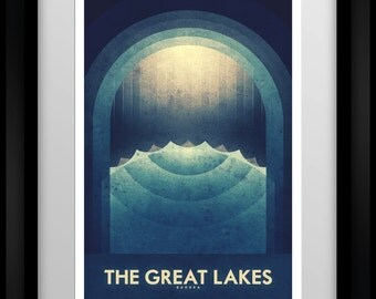 Space Travel Poster - Europa - The Great Lakes