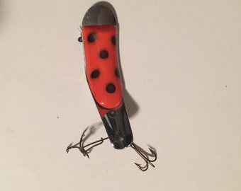 Vintage Helin Swimmerspoon 225 Fishing Lure RED BLACK DOTS