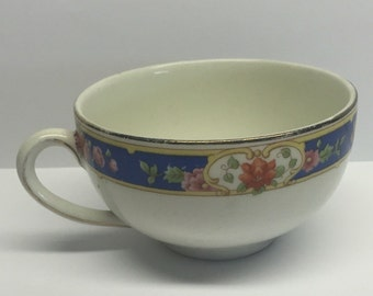 Antique Maddock Tea Cup  Blue Edge Pink Roses
