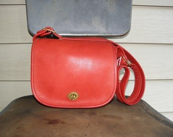 COACH Vintage Leather Handbag Purse Red 1990s Leatherware NYC New York City 9141