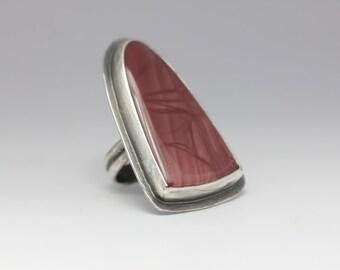 Royal Imperial Jasper Ring, Sterling Silver Ring, Rustic Jasper Ring, Statement Ring, Unisex, Size 8