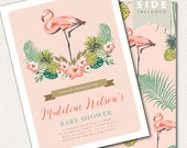 Flamingo Baby Shower Invitation - Luau Baby Shower Invitation - Aloha, Flamingo, Pineapple, Palm Leaf, Tropical, Hawaiian Baby Shower Party