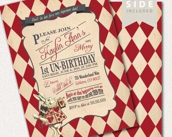 Alice in Wonderland  Invitation / Birthday / Mad Hatter Tea Party - Printable Birthday Party Invitation - Red