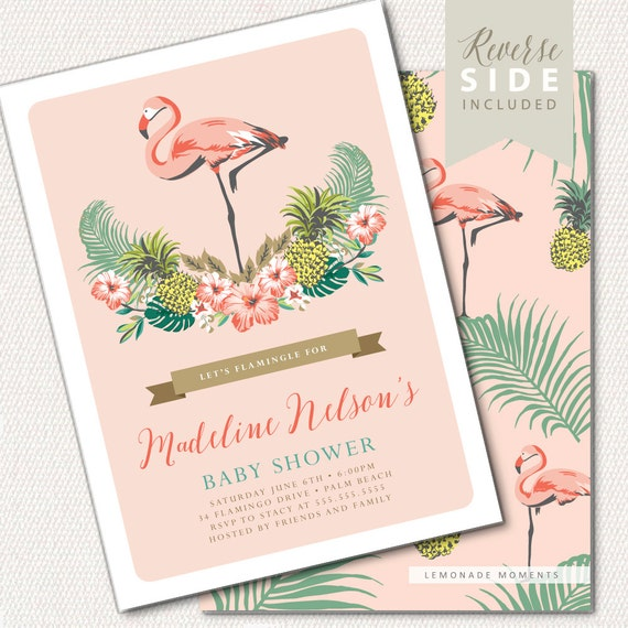 flamingo baby shower invitation luau baby shower invitation, Baby shower invitations