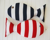 Fish Pillow - Navy and White Striped Pillow - Nautical Nursery - Red Fish - Coastal Decor