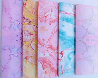 Pack of five or 10 digitally marbled notecards/notelets, A6, blank inside