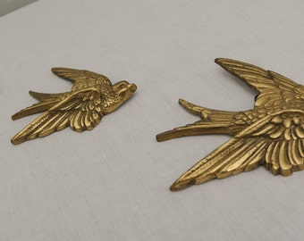 Three Brass Flying Swallows