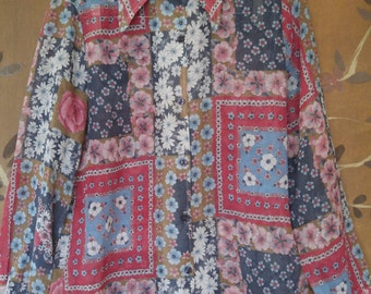 70s sheer flower power patchwork print shirt