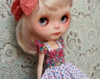 Pink and Blue Polka Dot Blythe Dress | Pullip Dress