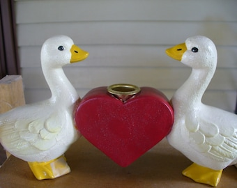Duck Candleholder with Heart