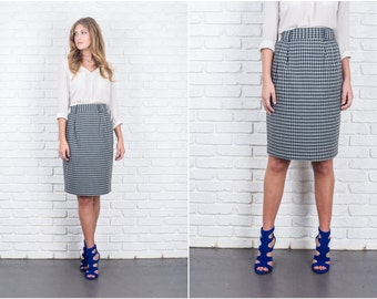 Vintage 80s Gray + Black Geometric Print Skirt High Waist XS 5900