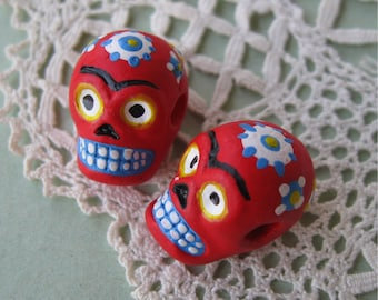 Day of the Dead Skull Beads Red Peru Handpainted Ceramic Horizontal Hole (2)
