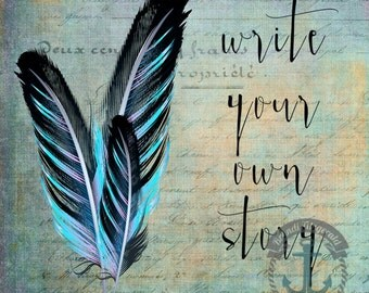 Write Your Own Story | Inspirational Feathers Love & Adventure Wall Decor | Product Options and Pricing via Dropdown Menu