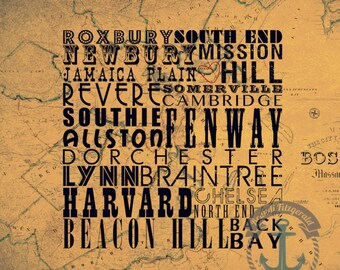 Historic Boston Suburbs | Town Typography | Product Options and Pricing via Dropdown Menu