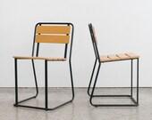 Pair of Modern Stacking Slat Chairs