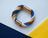 Yellow Electric blue trendy Twisted  Nautical Rope bracelet, nautical bracelet, rope statement by pardes