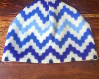 Fleece hat, zig zag print, winter hat