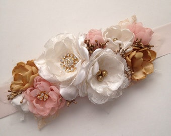 Sash - Blush Pink and Gold - Fabric Flowers, Wedding Sash, Pink Gold Wedding, Handmade Fabric Flowers, Ribbon Sash, Bridesmaid's Sash