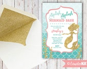 Gold Glitter Mermaid Printable Birthday Party Invitation - Peach Pink Teal Mint - Elegant Girl's - Personalized with OR without PHOTO
