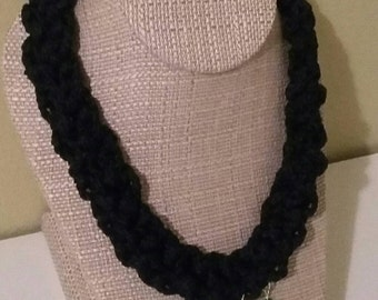 Braided Boho Crochet Necklace with Beads