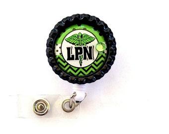 GREEN LPN Nurse Bottle Cap Retractable Badge Holder ID Reel  Worker Badge with Gem