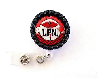 RED LPN Nurse Bottle Cap Retractable Badge Holder ID Reel  Worker Badge with Gem