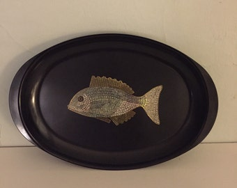 Couroc inlaid brass oval fish tray