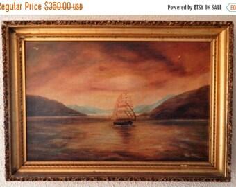 Sale Antique Landscape Seascape Sail Boat Ship Oil Painting European Genre Art Period Frame O/C Nautical Decor