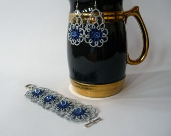 "Tatting jewelry set with a beads ""Sapphire in silver""- OOAK- lace earrings- bracelet-Gift for her - party cocktail -handmade jewelry"