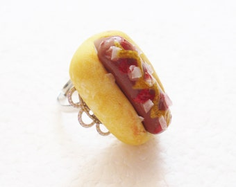 Hot Dog Ring. Polymer Clay.