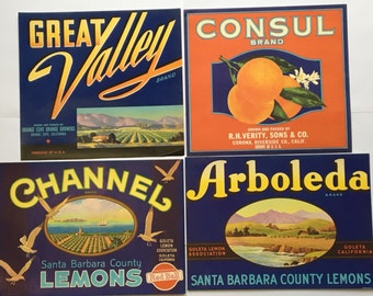 Four Vintage Colorful Fruit Crate California Citrus Lemon and Orange Labels