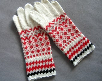 Hand knit gloves. Knitted gloves. White, red and black gloves. Patterned gloves. Estonian handcraft