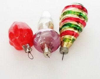 VINTAGE ORNAMENTS, Vintage Christmas, Glass Figurines, Retro Christmas, Collectible, Mushroom
